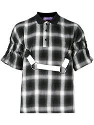 Private Policy Plaid Polo With Harness Black