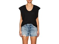 Lilla P Flutter Sleeve Pima Cotton Blend T Shirt Black