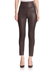 Three Dots Foiled Foldover Leggings Bronze