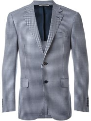 Canali Houndstooth Pattern Single Breasted Blazer Blue