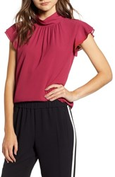 Chelsea 28 Chelsea28 Dotted Crinkle Chiffon Top Burgundy Berry