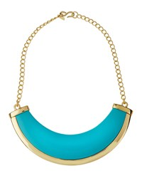 Kenneth Jay Lane Polished Golden Turquoise Hue Bib Necklace Women's