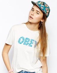 Obey Baseball Cap In Floral Print Turquoise