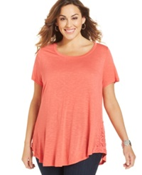 Eyeshadow Plus Size Lace Trim Tee Guava
