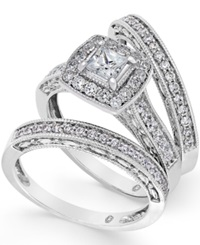 Macy's Diamond Engagement Ring Bridal Set 1 Ct. T.W. In 14K White Gold No Color