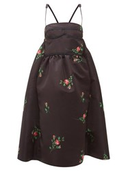 Rochas Rose Print Duchess Satin Midi Dress Black Print