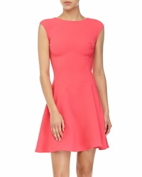 Julia Jordan Textured Fit And Flare Dress Coral
