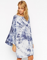 Asos Kimono Sleeve Dress In Festival Tie Dye Blue