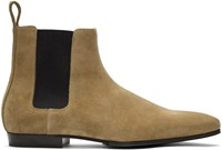Balmain Taupe Suede Chelsea Boots