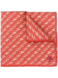 Canali Printed Pocket Square Scarf Red