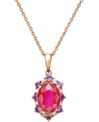 Macy's Multi Stone Starburst Pendant Necklace 2 1 4 Ct. T.W. In 10K Rose Gold Red