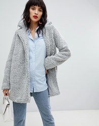 Pieces Teddy Coat Dark Grey Melange