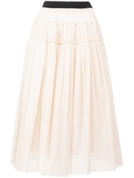 Sara Lanzi Gathered Midiskirt Neutrals