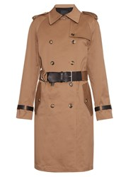 Alexander Wang Leather Trim Cotton Blend Drill Trench Coat