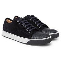Lanvin Dbb1 Cap Toe Suede And Textured Leather Sneakers Navy