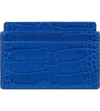 Smythson Mara Crocodile Embossed Leather Card Holder Ocean Blue