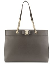 Salvatore Ferragamo Vara Bow Detail Tote Grey