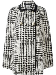 Fausto Puglisi Houndstooth Double Breasted Coat White