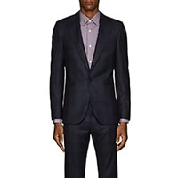 Paul Smith Soho Checked Wool One Button Sportcoat Navy