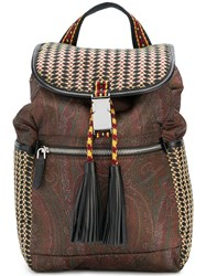 Etro Woven Paisley Backpack Brown