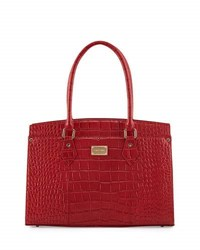 St. John Crocodile Embossed Leather Work Tote Bag Red