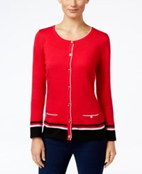 Karen Scott Striped Cardigan Only At Macy's New Red Amore Combo