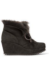 Pedro Garcia Fidela Shearling Lined Suede Wedge Boots Dark Gray