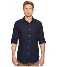 Perry Ellis Rolled Sleeve Solid Linen Shirt Navy Clothing