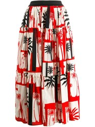 Fausto Puglisi Palm Tree Print Skirt Red