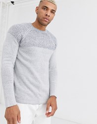 Only And Sons Knitted Jumper With Colour Block Melange Panel Grey