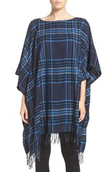 Dkny Women's Plaid Flannel Poncho Peacoat And Oasis Plaid