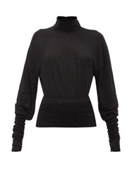 Christophe Lemaire Button Collared Stretch Jersey Roll Neck Sweater Black