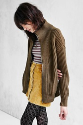 Silence And Noise Silence Noise Funnel Neck Zip Cardigan Green