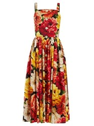 Dolce And Gabbana Floral Print Patch Pocket Cotton Midi Dress Orange Multi