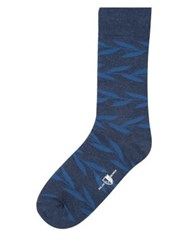 Black Brown Henri Botanical Mid Calf Socks Navy