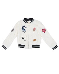 Hannah Banana Faux Fur Bomber Jacket W Assorted Patches Size 7 14 White
