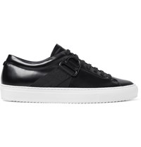Oamc Airborne Grosgrain Trimmed Polished Leather Sneakers Black