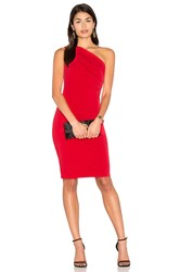 Velvet By Graham And Spencer Elly One Shoulder Midi Dress Red