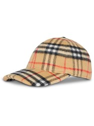 Burberry Vintage Check Wool Baseball Cap Yellow