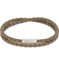 Tateossian Double Wrap Leather Bracelet Silver Brown