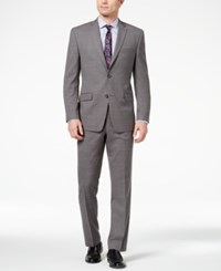 Marc New York By Andrew Men's Classic Fit Stretch Medium Gray Windowpane Suit Med Gray