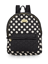 Betsey Johnson Tie The Knot Polka Dot Backpack Black Cream