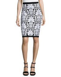 Romeo And Juliet Couture Floral Print Knit Pencil Skirt Black White