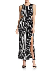 Saks Fifth Avenue Red Geo Print Cutout Maxi Dress White Black
