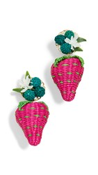 Mercedes Salazar Strawberry Earrings Pink Green