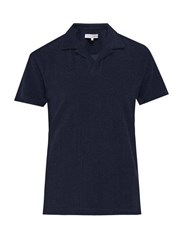Orlebar Brown Terry Towelling Textured Polo Shirt Navy