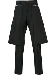 Comme Des Garcons Homme Plus Layered Tailored Cropped Trousers Men Polyester 4 Black