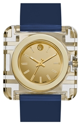 Tory Burch 'Izzie' Square Leather Strap Watch 36Mm Navy Gold