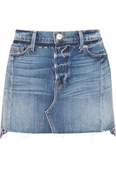 Frame Nouveau Le Mini Mix Distressed Denim Skirt Mid Denim