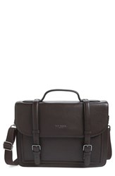 Men's Ted Baker London 'Jagala' Pebbled Leather Messenger Bag Brown Chocolate